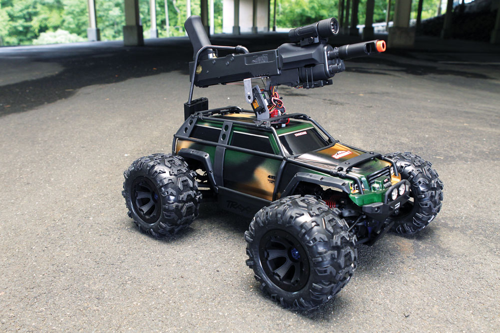 Custom FPV RC Assault Truck roaming the parking garage near our offices.