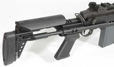 The telescopic stock has an adjustable cheek rest.